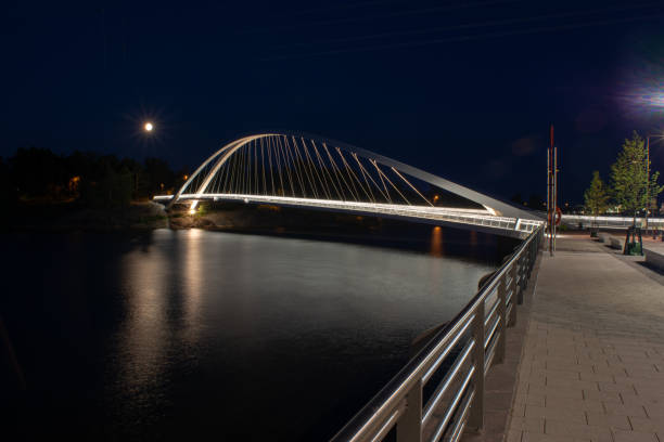 An illuminated walking bridge casting a reflection on the water during night time stock photo