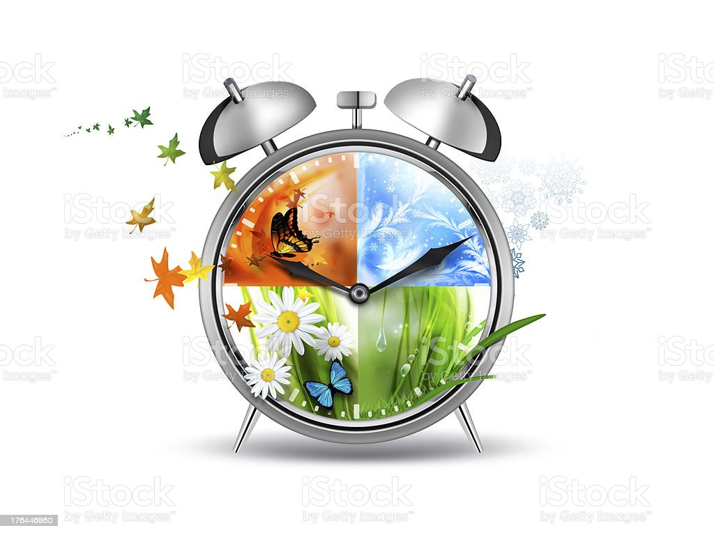 An illustrated clock showing four seasons stock photo