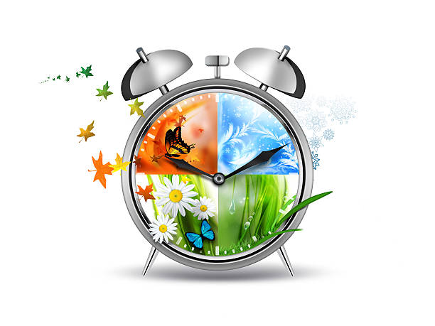 An illustrated clock showing four seasons alarm clock with Four Seasons - time concept image four seasons stock pictures, royalty-free photos & images