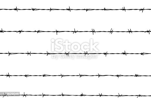 five lines of barb wire
