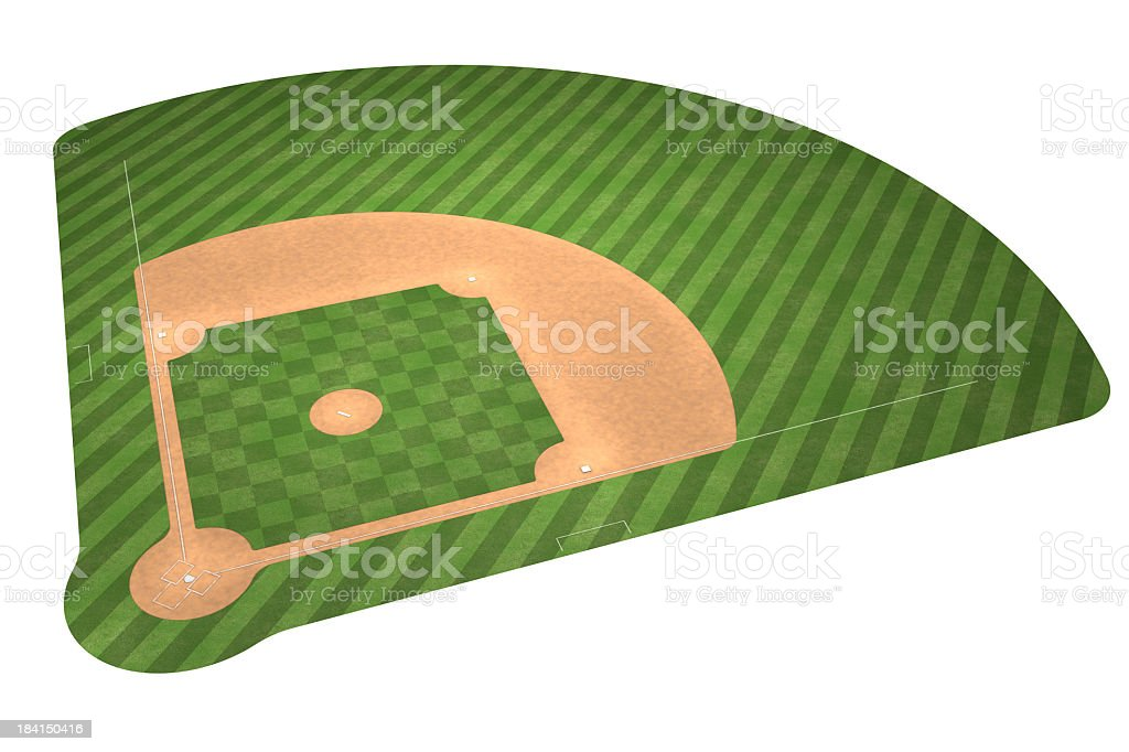 An illustration of a baseball field isolated on white stock photo