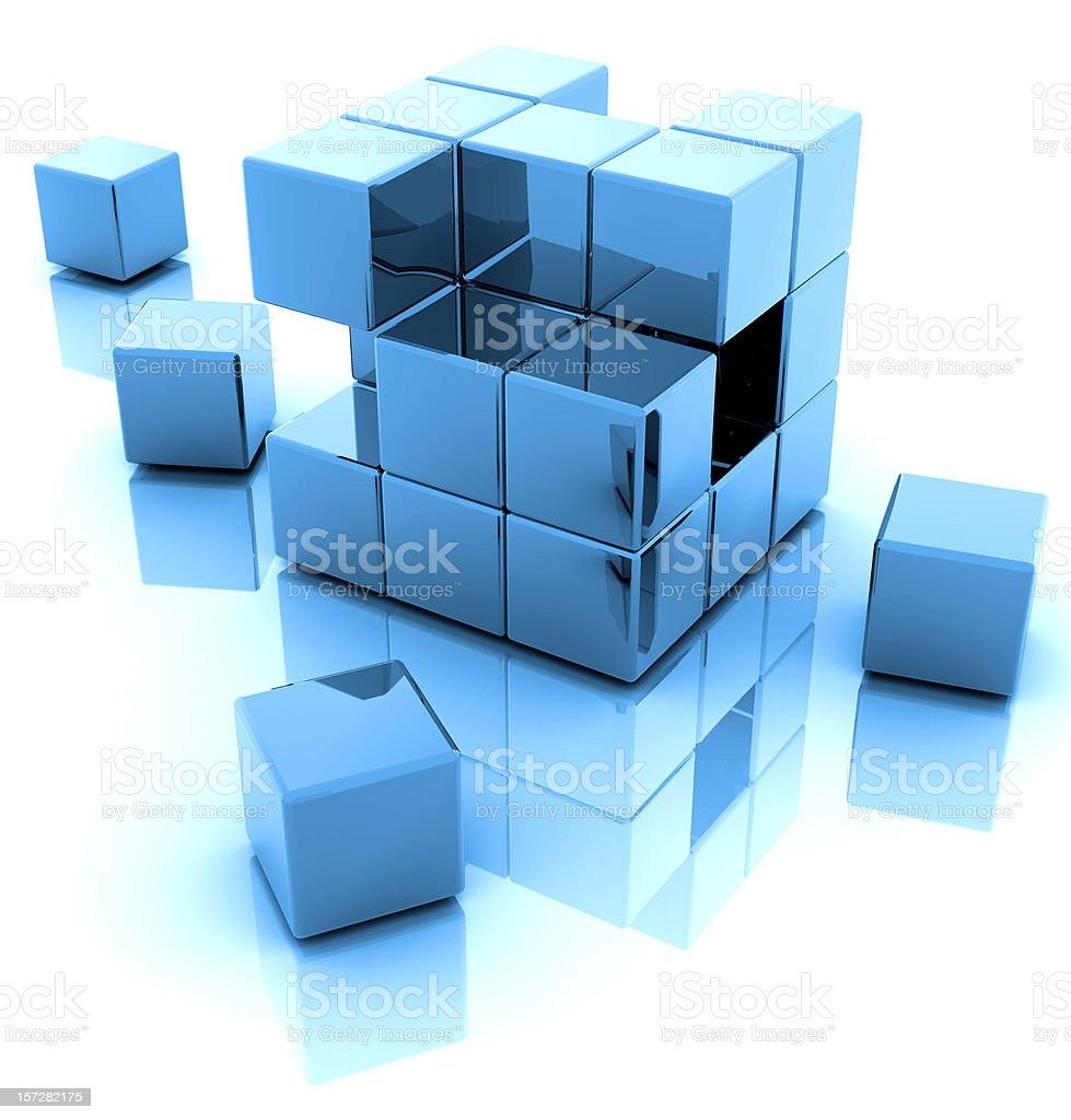 An illustration of a blue 3D blocks with a reflection stock photo