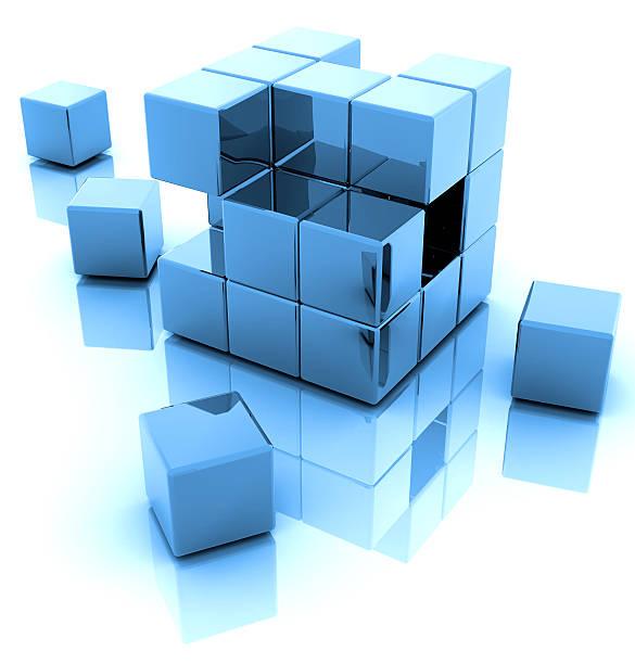 Blaue 3D Häuserblocks – Foto