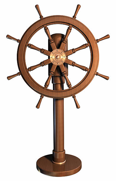 an illustration of a boat wheel made of wood - roeren stockfoto's en -beelden