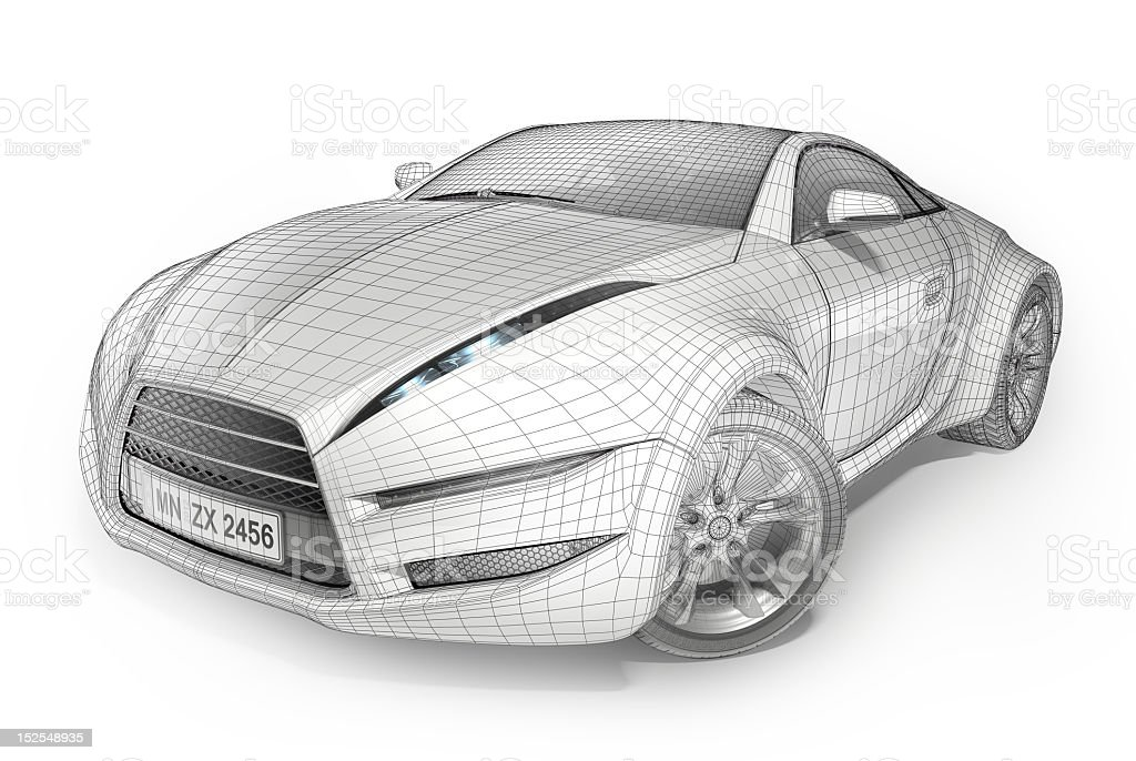 An illustration of a car in a wireframe stock photo