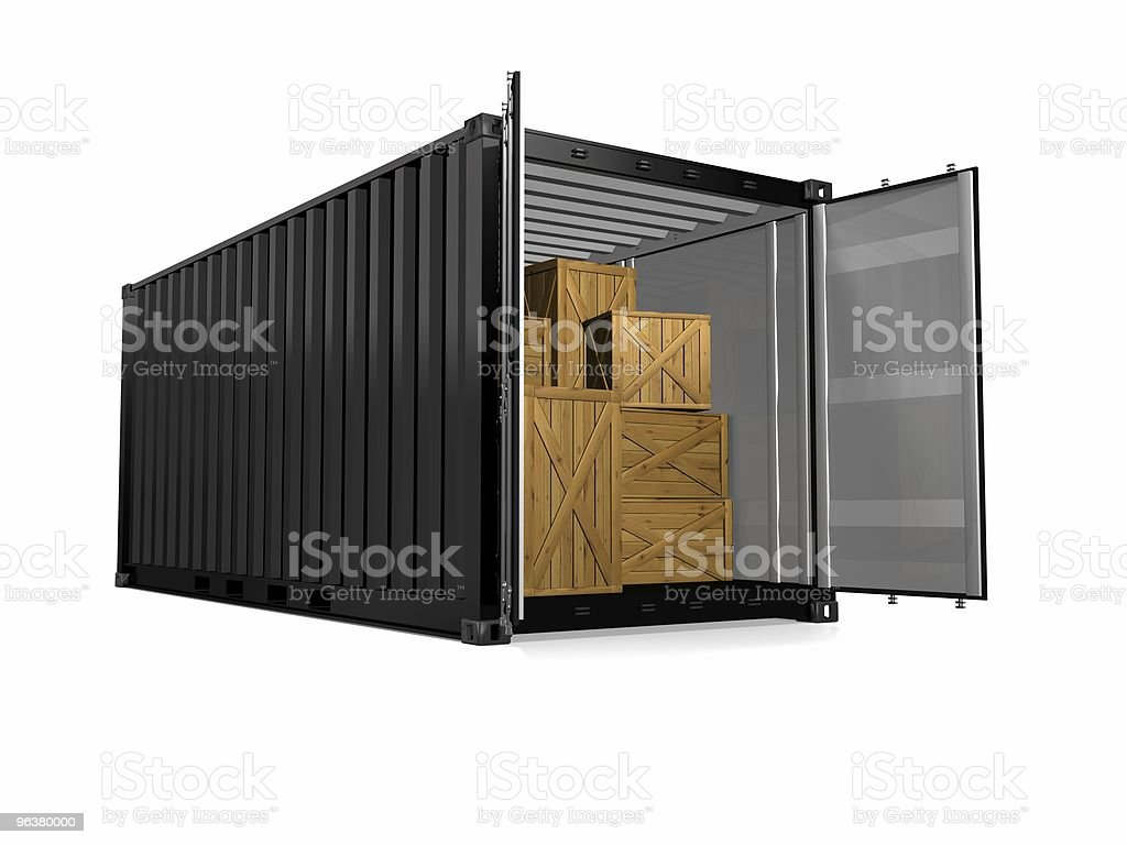 An illustration of a container van with wooden boxes inside royalty-free stock photo