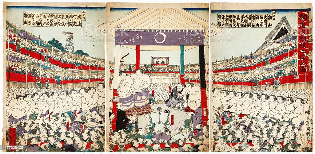 An illustration of a gathering of sumo wrestlers in Japan stock photo