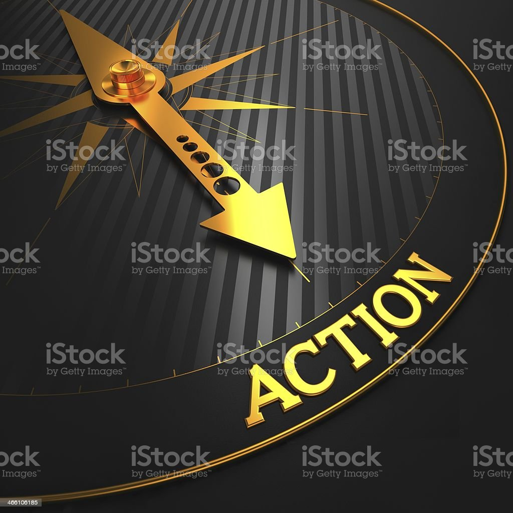 An illustration of a gold dial pointing to the word action stock photo
