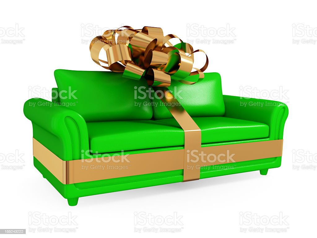 An illustration of a green sofa with a gold ribbon royalty-free stock photo