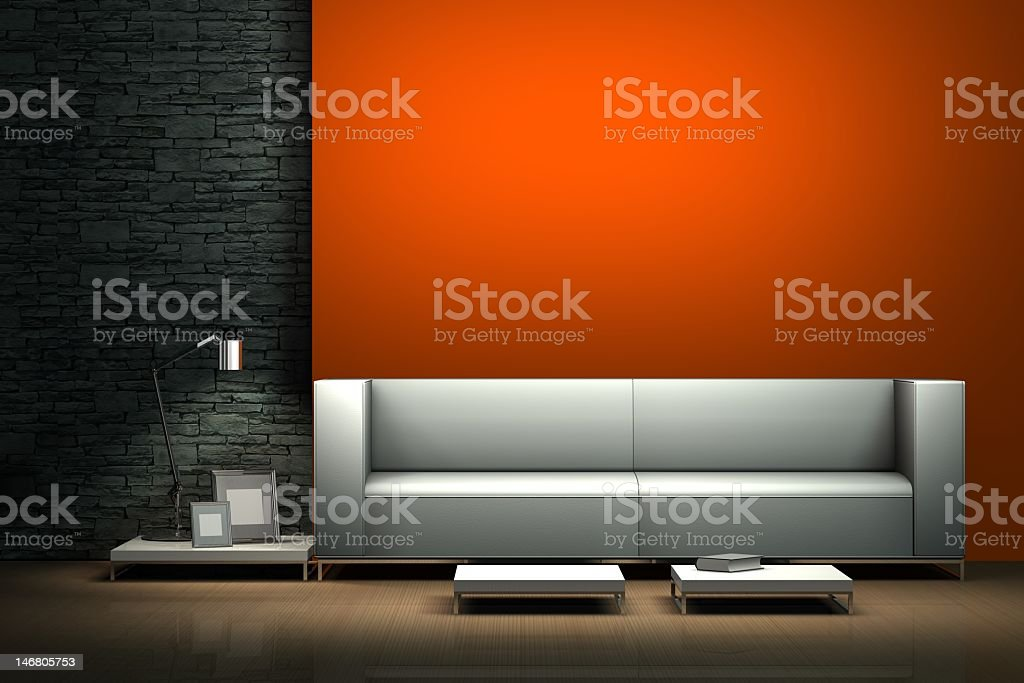 An illustration of a modern interior with a white sofa royalty-free stock photo