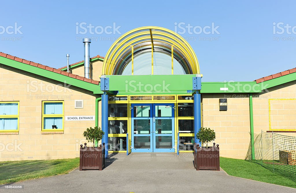 An illustration of a school buildings entrance stock photo