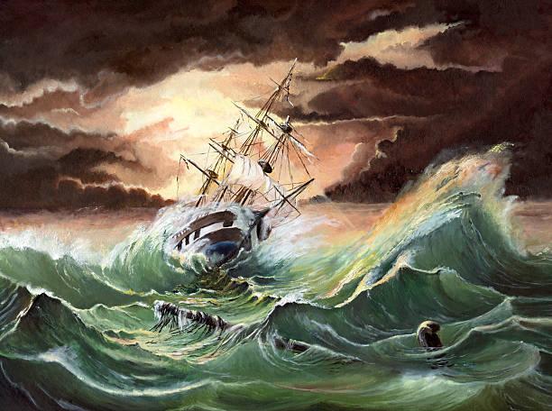 an illustration of a storm at sea - yağlı boya resim stok fotoğraflar ve resimler