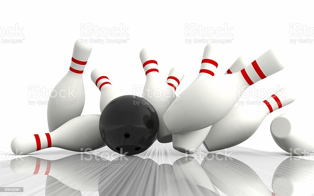 An illustration of a strike during a ten pin bowling game royalty-free stock photo