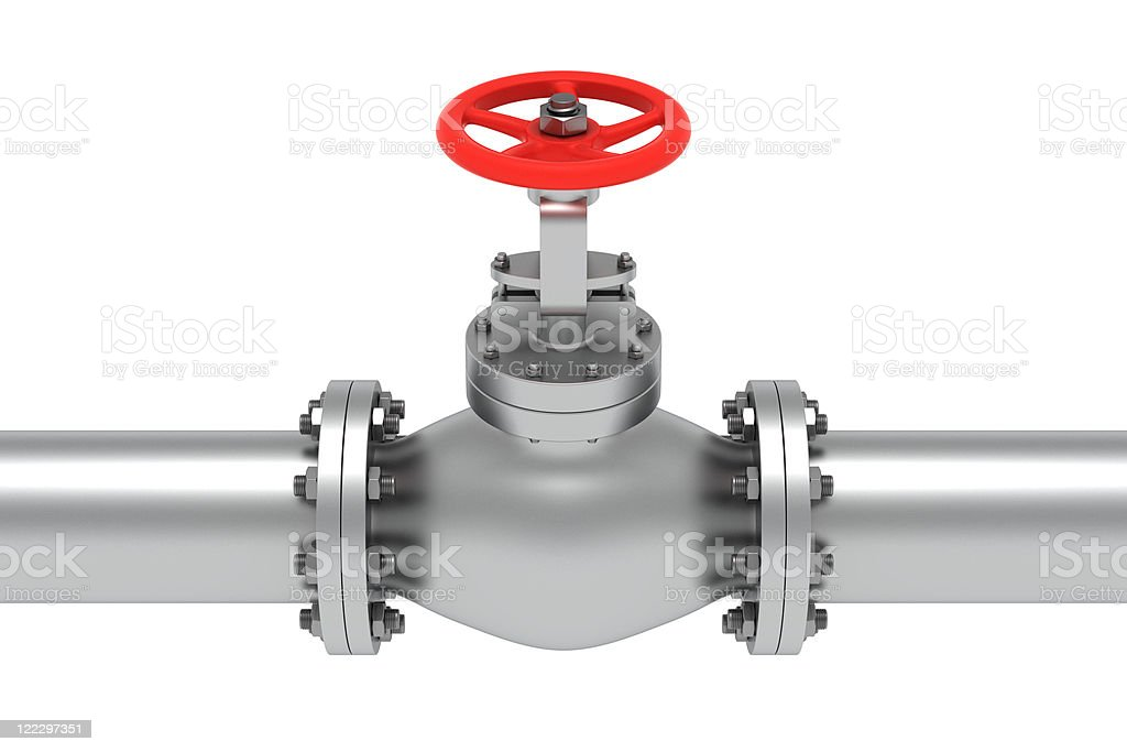 An illustration of a valve in between two pipes royalty-free stock photo