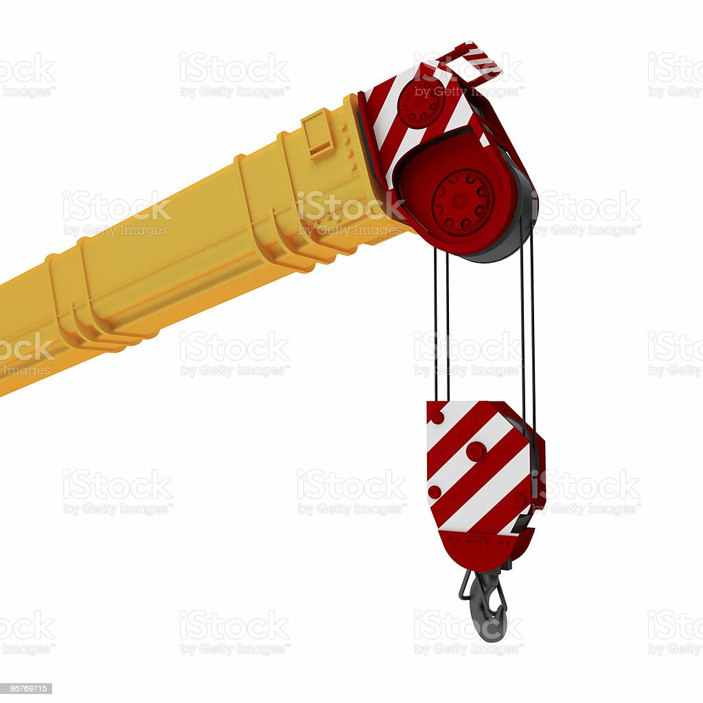 An illustration of a yellow, red and white colored crane royalty-free stock photo
