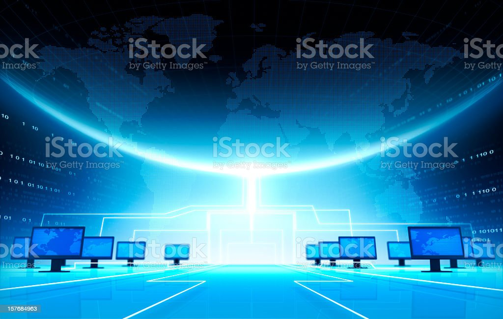 An illustration of computers under a large Earth royalty-free stock photo