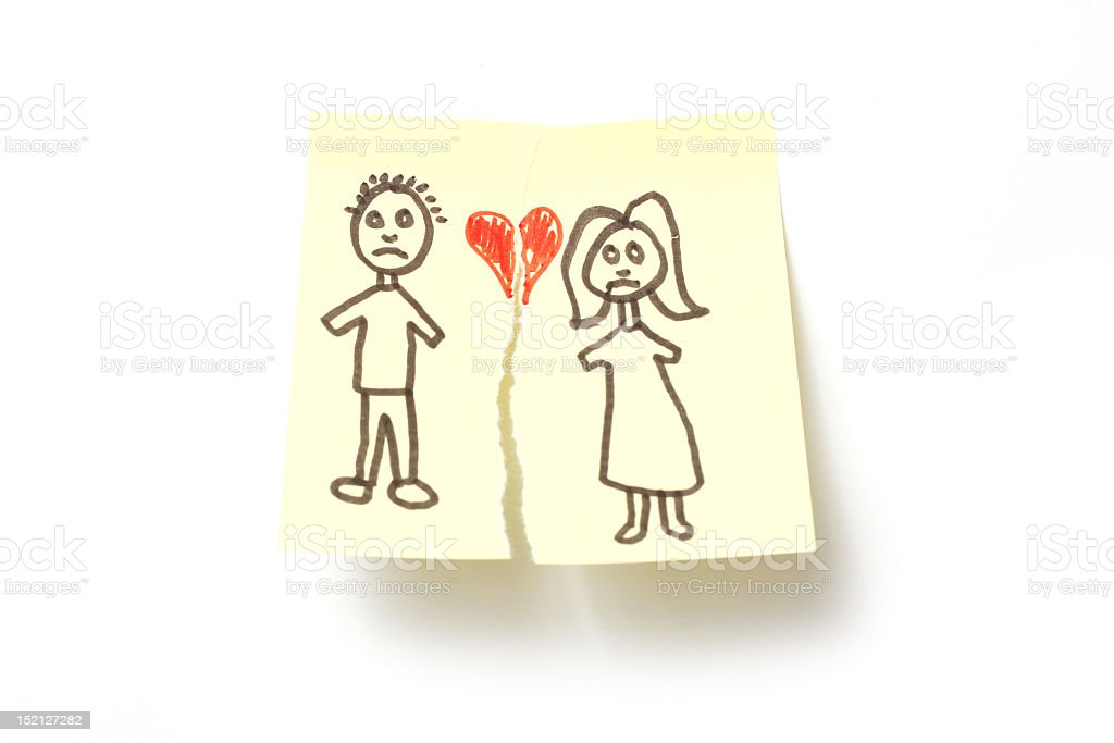 An illustration of divorce from a young child's perspective stock photo