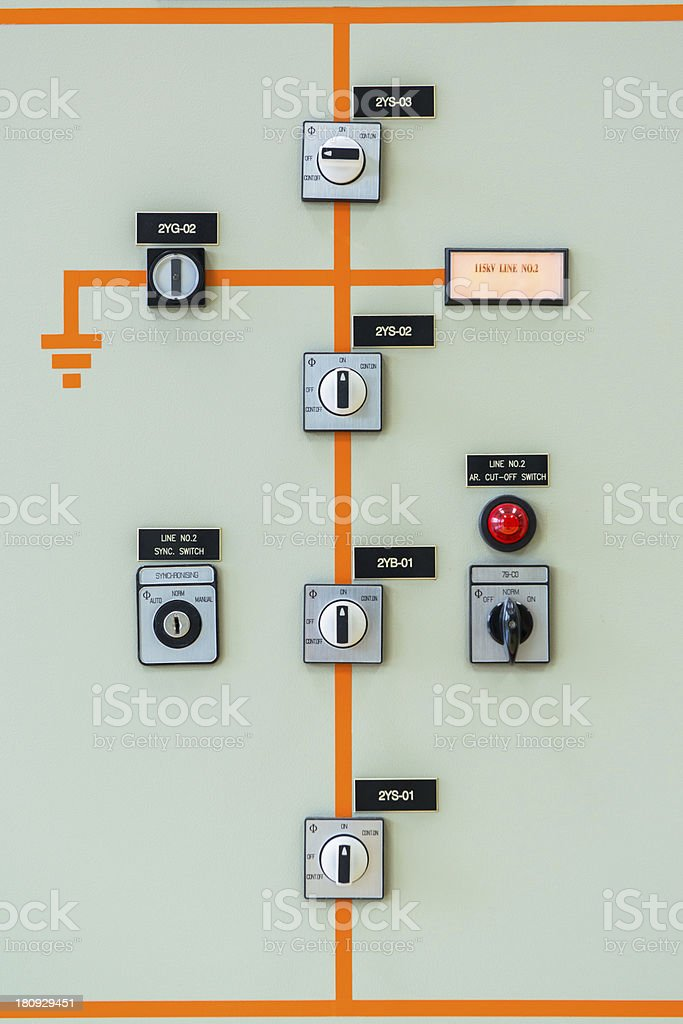 An illustration of electrical station industrial controls stock photo