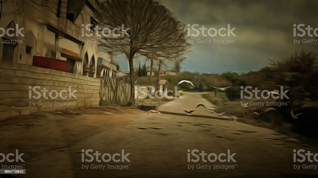 An illustration of flying pigeon on a countryside street.