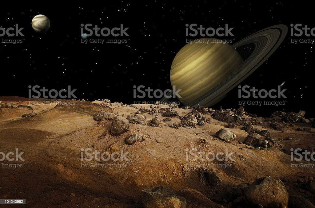 An illustration of Saturn and a lunar landscape stock photo