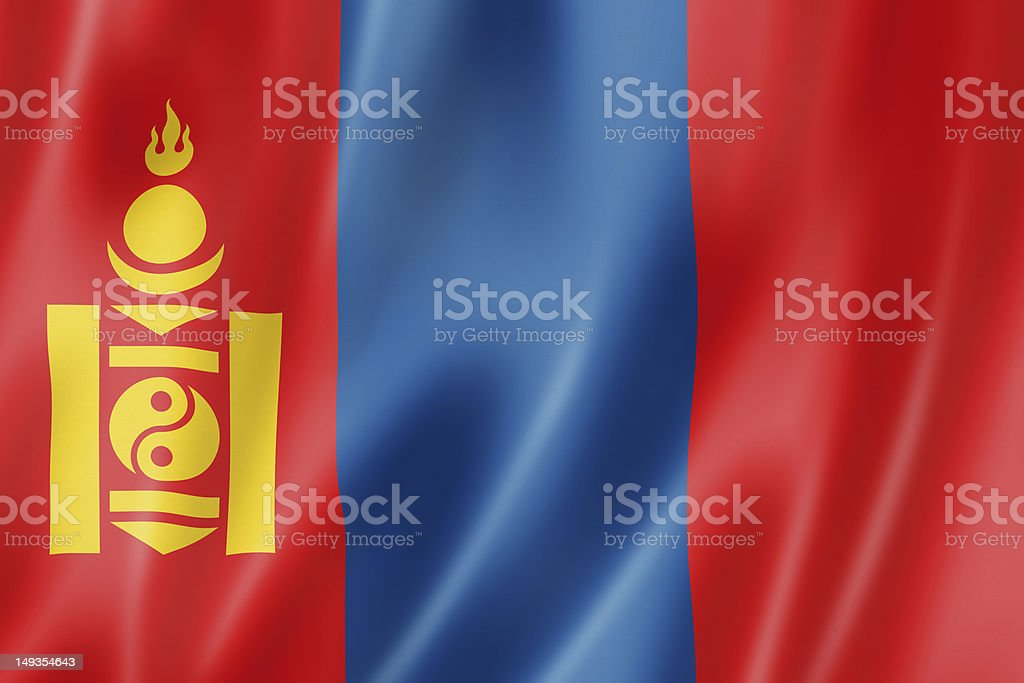 An illustration of the Mongolian flag stock photo