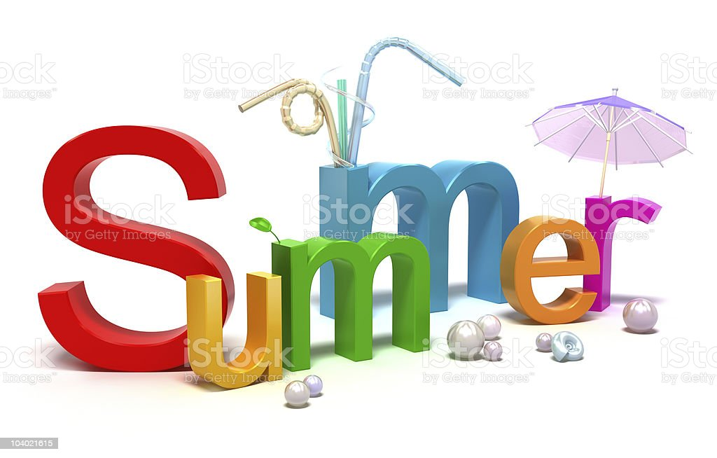 An illustration of the word summer in various color stock photo