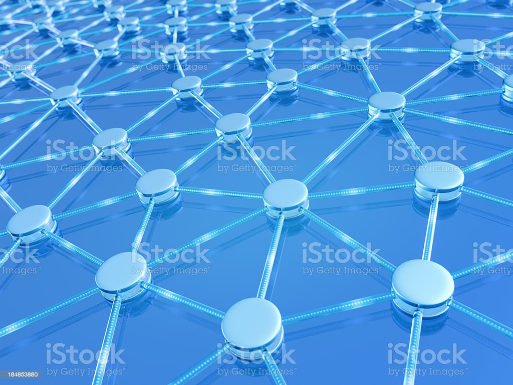 An image in blue representing a network of connections stock photo