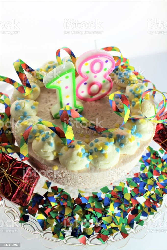 An Image Of A Birthday Cake 18th Birthday Stock Photo More