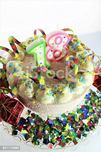 istock An Image of a birthday cake - 18th birthday 847110580