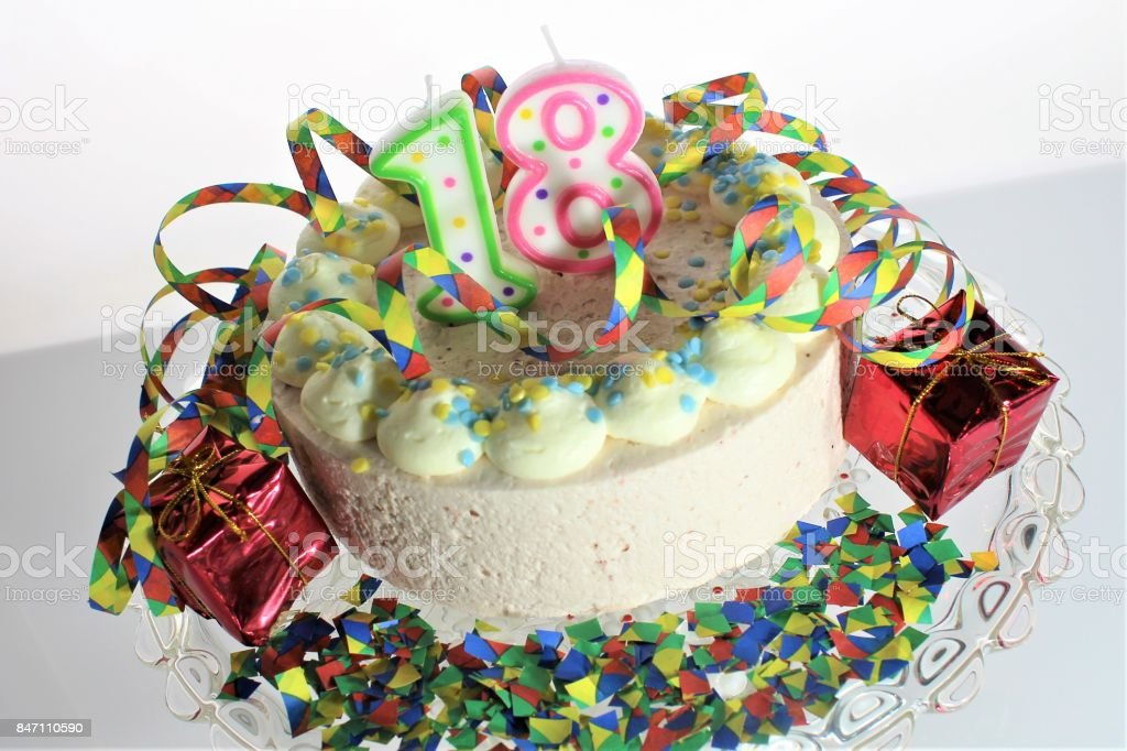 Admirable An Image Of A Birthday Cake 18Th Birthday Stock Photo Download Personalised Birthday Cards Akebfashionlily Jamesorg