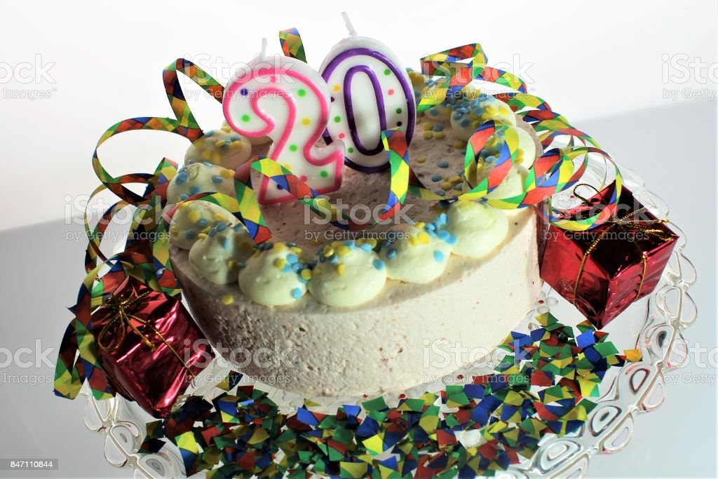 Admirable An Image Of A Birthday Cake 20Th Birthday Stock Photo Download Personalised Birthday Cards Veneteletsinfo