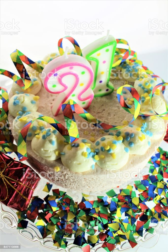 An Image Of A Birthday Cake 21st Birthday Stock Photo More