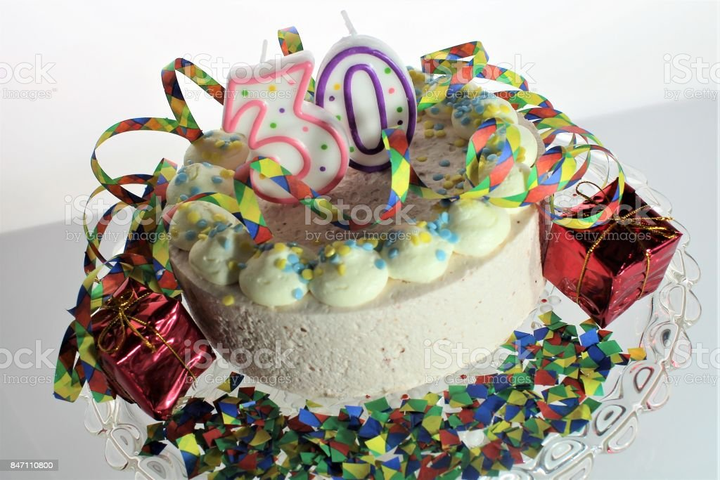 Astounding An Image Of A Birthday Cake 30Th Birthday Stock Photo Download Personalised Birthday Cards Veneteletsinfo