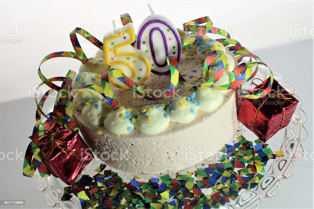 An image of a birthday cake - 50th birthday stock photo