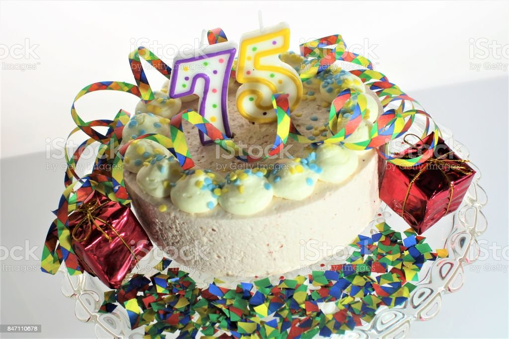Phenomenal An Image Of A Birthday Cake 75 Birthday Stock Photo Download Funny Birthday Cards Online Elaedamsfinfo