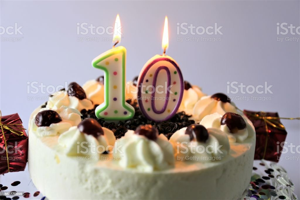 An Image Of A Birthday Cake With Candles 10 Stock Photo More