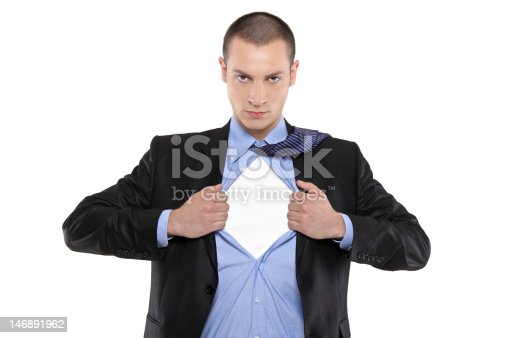 158909167istockphoto An image of a businessman opening his shirt like a superhero 146891962
