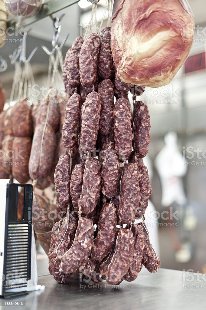 An image of a dried sausages hanged in a butchery stock photo