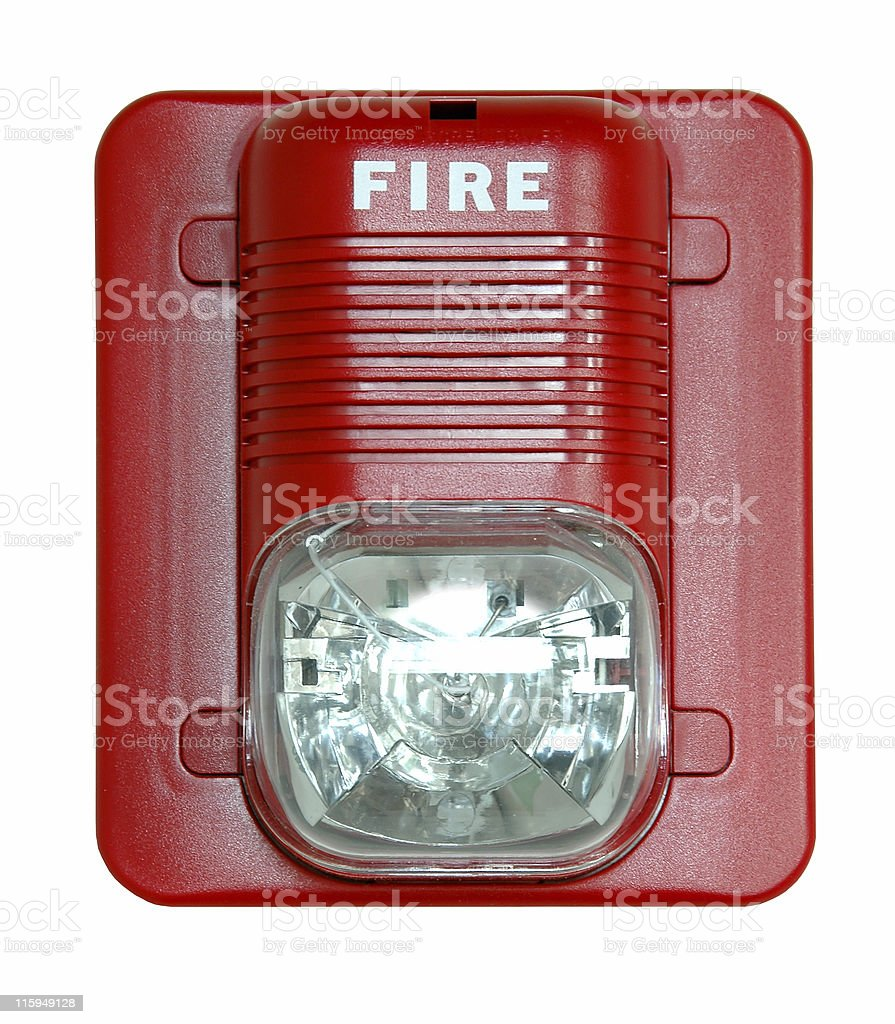 An image of a fire alarm on a white screen stock photo