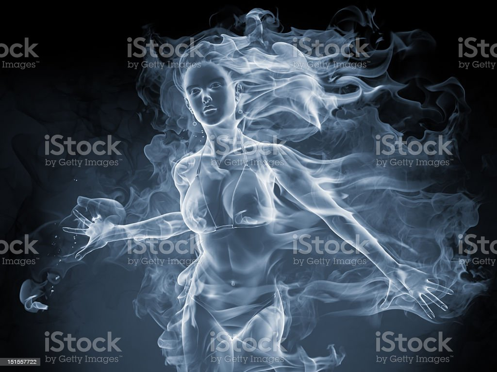 An image of a ghost like picture of a girl stock photo