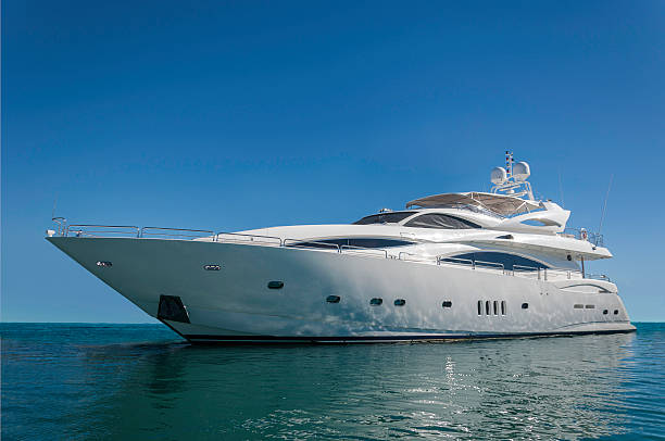 An image of a luxurious White motorized yacht stock photo