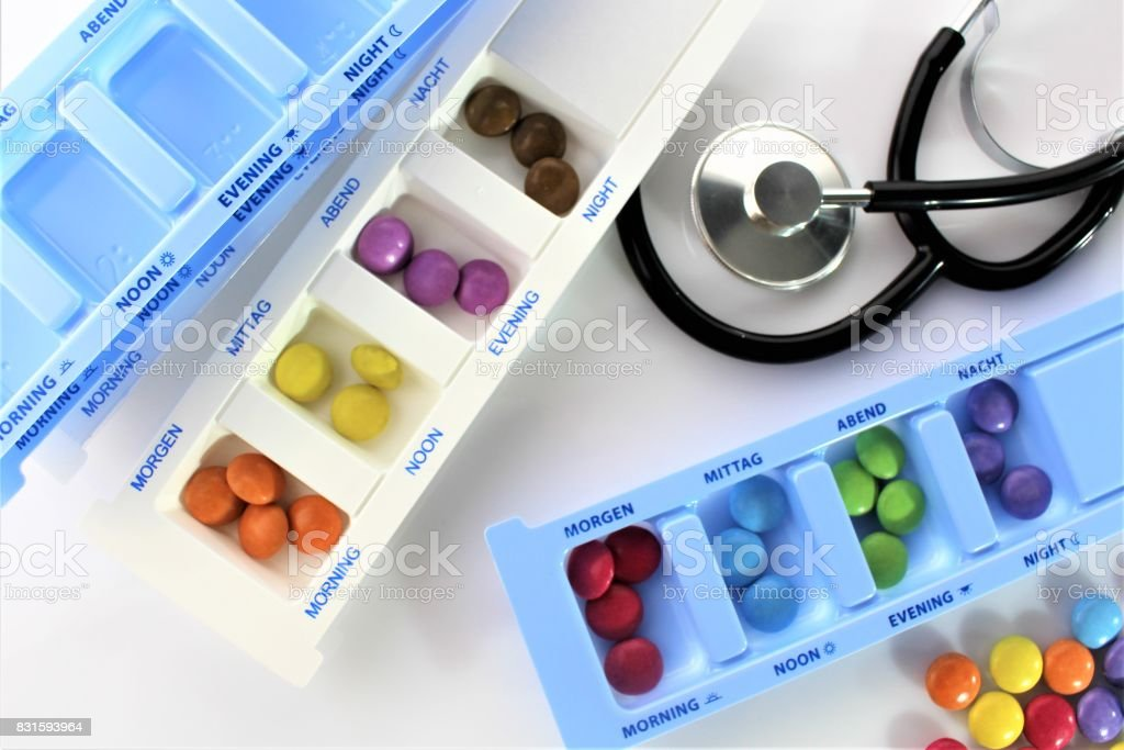 An image of a medication box stock photo