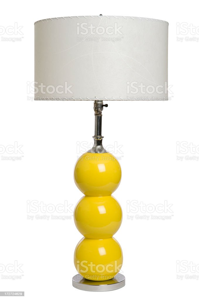 An image of a modern yellow lamp against a white background royalty-free stock photo
