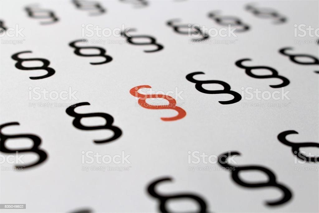 Uma imagem de um símbolo de parágrafo - advogado - foto de acervo
