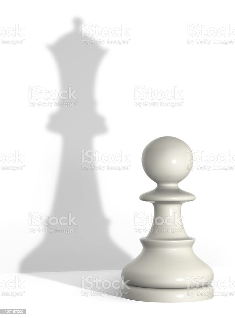 An image of a pawn but a shadow of a queen chess piece stock photo
