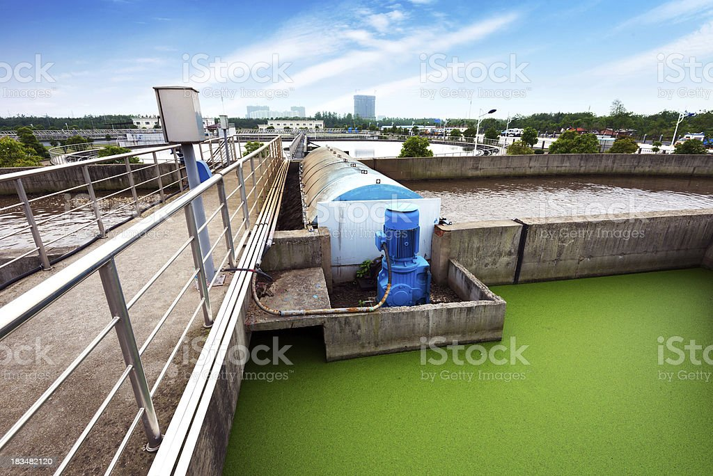 An image of an aerial view of a sewage treatment plant stock photo