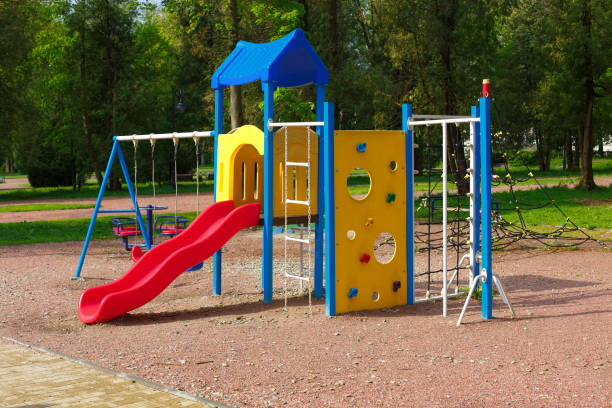An image of colorful children playground, without children. Playground without children stock photo