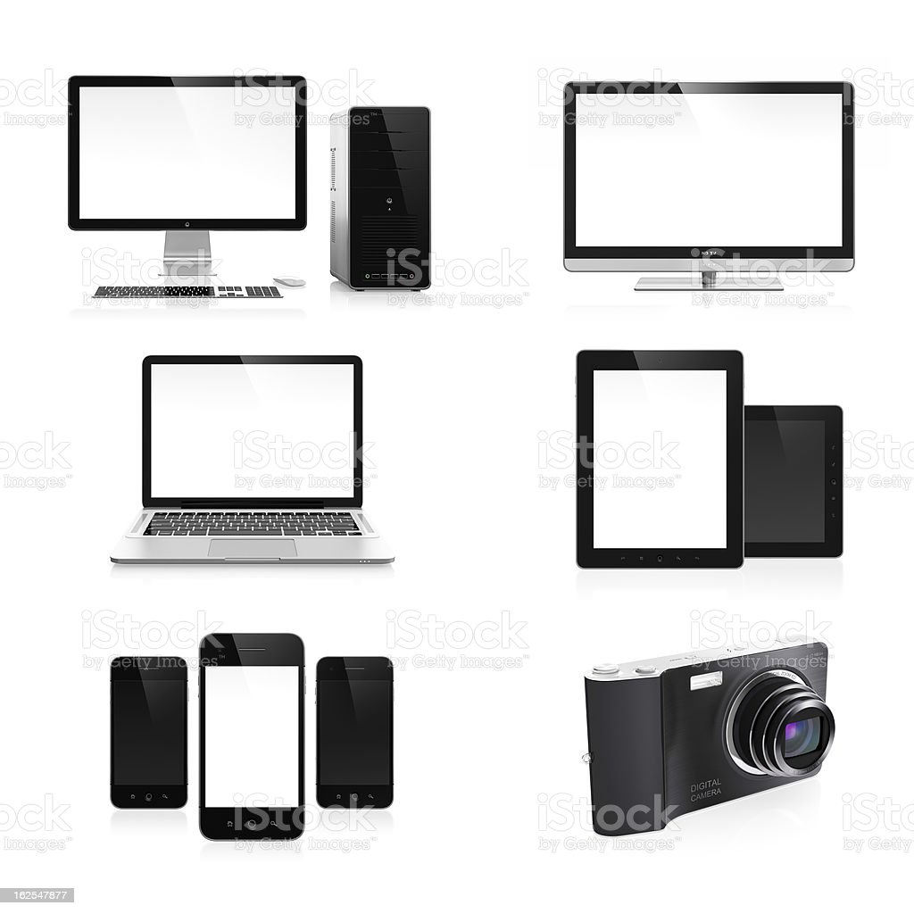 An image of electronic devices on a white background royalty-free stock photo