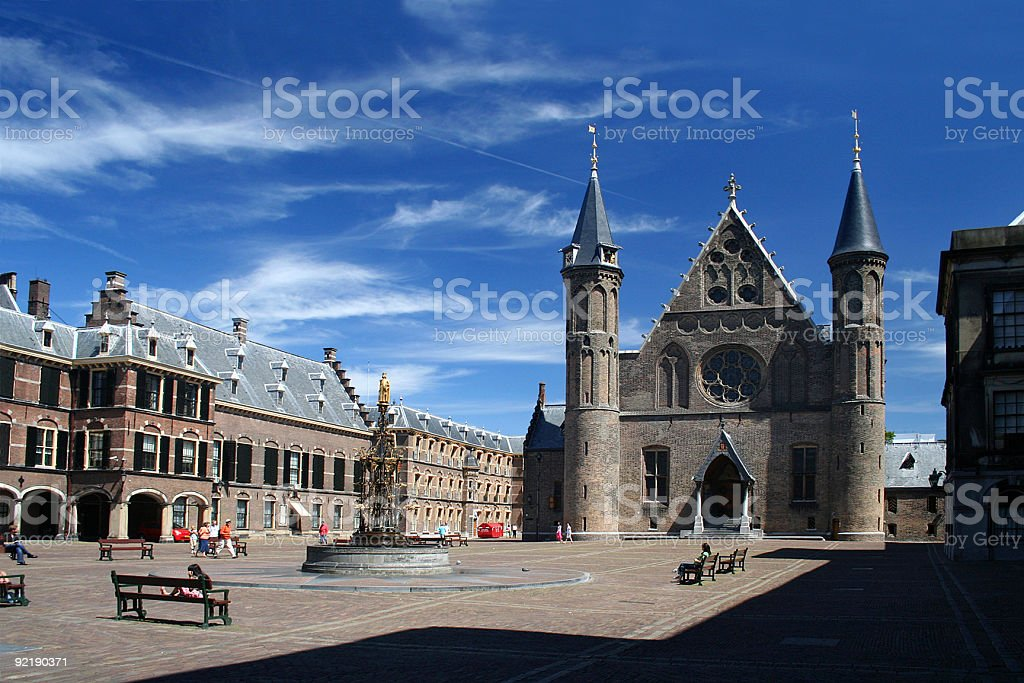 An image of the entrance to the Dutch Parliament stock photo