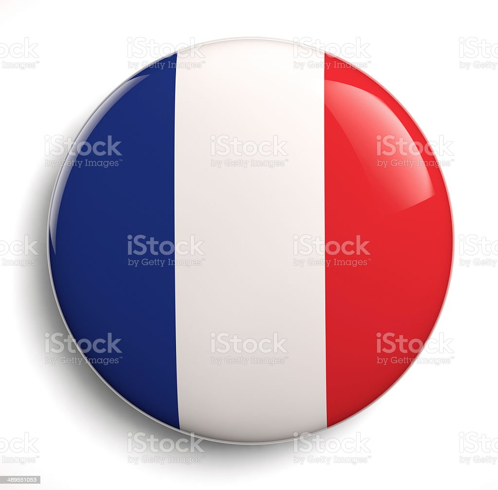 An image of the national flag of France as a circular button stock photo
